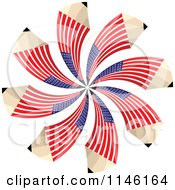 Clipart Of An American Flag Spiral Pencil Burst Royalty Free CGI Illustration by Andrei Marincas