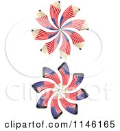 Clipart Of American Flag Spiral Pencil Bursts Royalty Free CGI Illustration