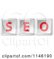 Clipart Of 3d SEO Computer Keyboard Keys Royalty Free CGI Illustration by Andrei Marincas