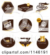 Clipart Of Brown Coffee Logos Royalty Free Vector Illustration