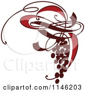 Clipart Of A Bunch Of Ornate Red Grapes Royalty Free Vector Illustration