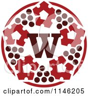 Clipart Of A Circle Of Wine Grapes And Letter W Royalty Free Vector Illustration by elena