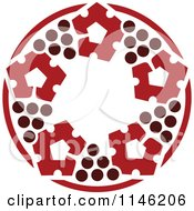 Clipart Of A Circle Of Red Grapes Royalty Free Vector Illustration by elena