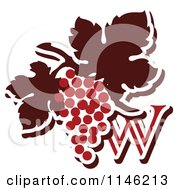 Clipart Of The Letter W And Red Grapes Royalty Free Vector Illustration by elena