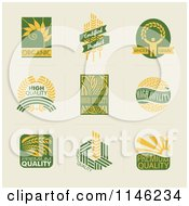 Clipart Of Green And Yellow Quality Natural And Organic Wheat Designs Royalty Free Vector Illustration