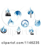 Clipart Of Blue Flame Natural Gas Logos Royalty Free Vector Illustration