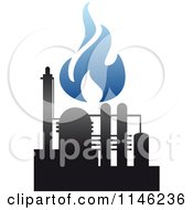 Clipart Of A Gas Refinery With Blue Flames 3 Royalty Free Vector Illustration