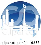 Clipart Of A Gas Refinery With Blue Flames 4 Royalty Free Vector Illustration