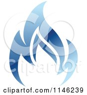 Clipart Of A Blue Flame Natural Gas Logo Royalty Free Vector Illustration