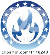 Clipart Of A Blue Flame Natural Gas And Circle Of Stars Logo Royalty Free Vector Illustration