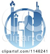 Clipart Of A Gas Refinery With Blue Flames 6 Royalty Free Vector Illustration