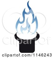 Clipart Of A Stove Burner With Blue Gas Flames 5 Royalty Free Vector Illustration