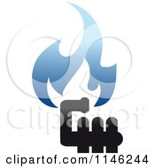 Clipart Of Gas Pipes And Blue Flames Royalty Free Vector Illustration by Seamartini Graphics