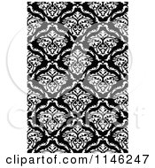 Clipart Of A Black And White Damask Pattern Royalty Free Vector Illustration