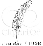 Clipart Of A Black And White Feather 1 Royalty Free Vector Illustration