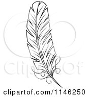 Clipart Of A Black And White Feather 2 Royalty Free Vector Illustration