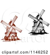 Clipart Of Windmills Royalty Free Vector Illustration by Vector Tradition SM