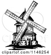 Clipart Of A Black And White Windmill Royalty Free Vector Illustration by Vector Tradition SM