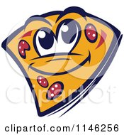 Clipart Of A Happy Pizza Slice Mascot 2 Royalty Free Vector Illustration