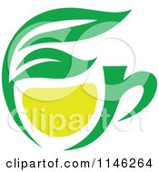 Clipart Of A Green Tea Cup With Lemon And Leaves 1 Royalty Free Vector Illustration by Vector Tradition SM