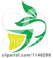 Clipart Of A Green Tea Cup With Lemon And Leaves 3 Royalty Free Vector Illustration