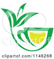 Clipart Of A Green Tea Cup With Lemon And Leaves 5 Royalty Free Vector Illustration
