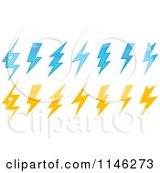 Clipart Of Blue And Yellow Lightning Bolts Royalty Free Vector Illustration