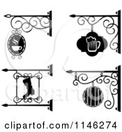 Clipart Of Black And White Storefront Bar Pub And Workshop Shingle Signs Royalty Free Vector Illustration
