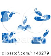 Clipart Of A Blue Quill Pens Books And Letters Royalty Free Vector Illustration