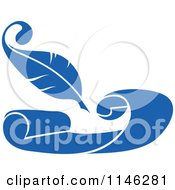 Clipart Of A Blue Quill Pen And Scroll 2 Royalty Free Vector Illustration