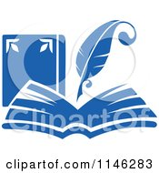 Clipart Of A Blue Quill Pen Over An Open Book Royalty Free Vector Illustration