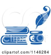 Clipart Of A Blue Quill Pen Inkwell And Books Royalty Free Vector Illustration