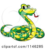 Clipart Of A Green And Yellow Phython Snake Royalty Free Vector Illustration