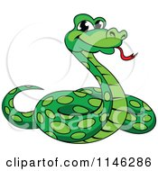 Clipart Of A Green Phython Snake Royalty Free Vector Illustration by Vector Tradition SM