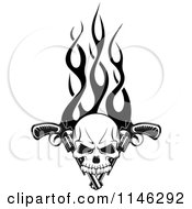Clipart Of A Black And White Skull Over Pistols And Flames Royalty Free Vector Illustration