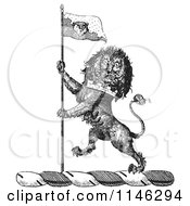 Clipart Of A Black And White Vintage Lion Crest With A Flag Royalty Free Vector Illustration by Picsburg