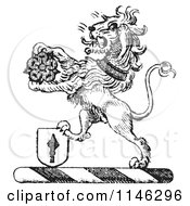 Clipart Of A Black And White Vintage Lion Crest With A Flower And Shield Royalty Free Vector Illustration by Picsburg