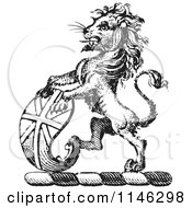 Clipart Of A Black And White Vintage Lion Crest With A Curved Shield Royalty Free Vector Illustration by Picsburg