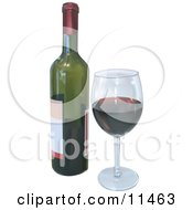 Wineglass With Red Wine And A Bottle Clipart Illustration