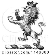 Clipart Of A Black And White Vintage Lion Crest With A Crown Royalty Free Vector Illustration