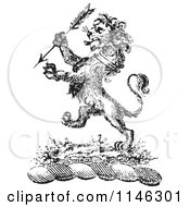 Clipart Of A Black And White Vintage Lion Crest With An Arrow Royalty Free Vector Illustration by Picsburg