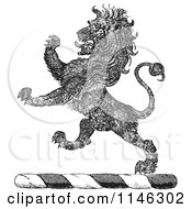 Clipart Of A Black And White Vintage Textured Lion Crest Royalty Free Vector Illustration by Picsburg