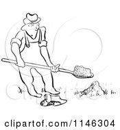 Cartoon Of A Black And White Man Digging Royalty Free Vector Clipart