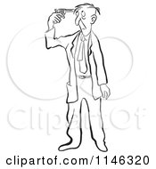 Black And White Businessman Holding A Gun To His Head