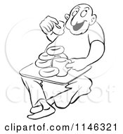 Cartoon Of A Black And White Man Eating Coffee And Donuts Royalty Free Vector Clipart