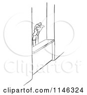 Cartoon Of A Black And White Woman At A Help Counter Royalty Free Vector Clipart
