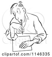 Cartoon Of A Black And White Man Glancing To Cheat On A Test Royalty Free Vector Clipart