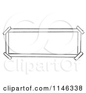 Cartoon Of A Black And White Sign With Taped Corners Royalty Free Vector Clipart