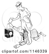 Cartoon Of A Black And White Worker Diving Under Another To Punch In First Royalty Free Vector Clipart