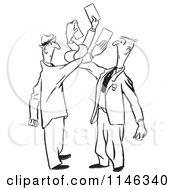 Cartoon Of Black And White Men Getting Tangled While Trying To Exchange Cards Royalty Free Vector Clipart